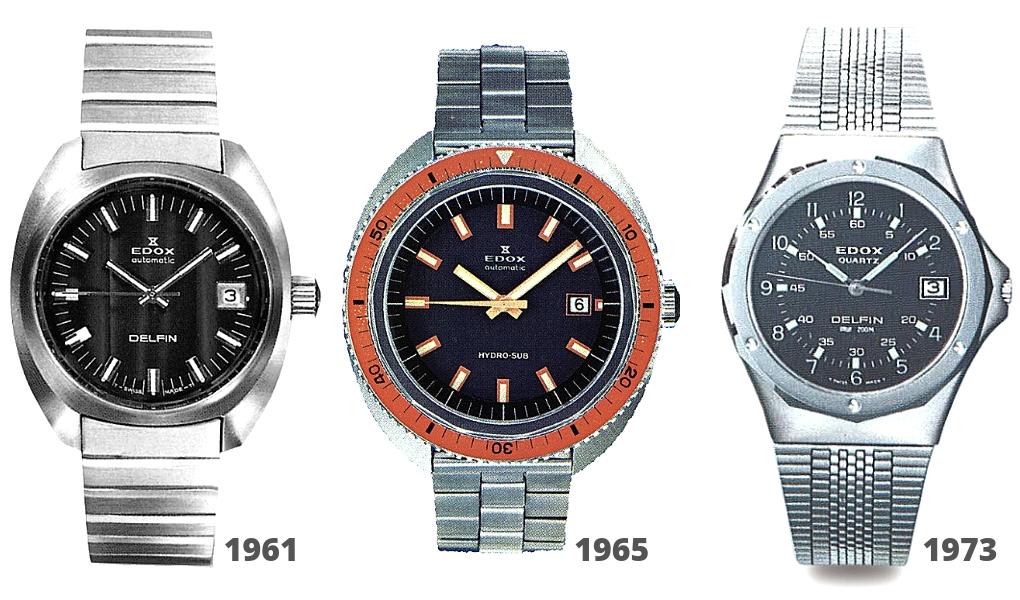 эволюция часов Edox Delfin