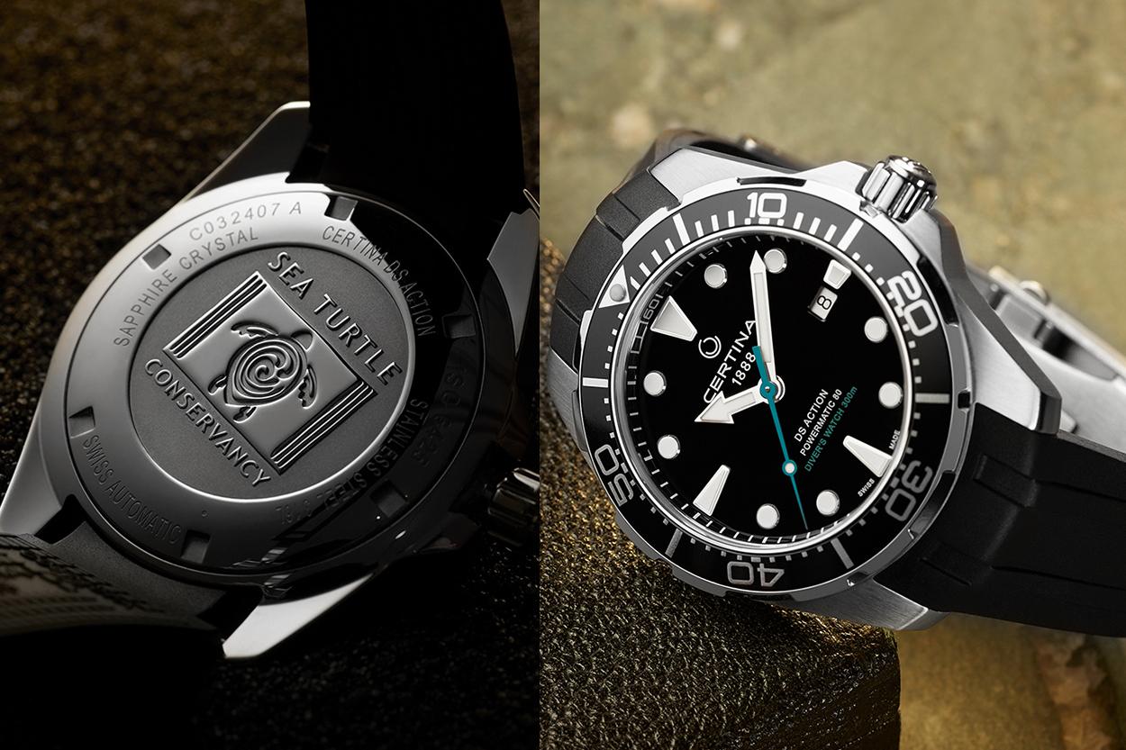 дайверские часы сертина aqua C032.407.17.051.60 sea turtle